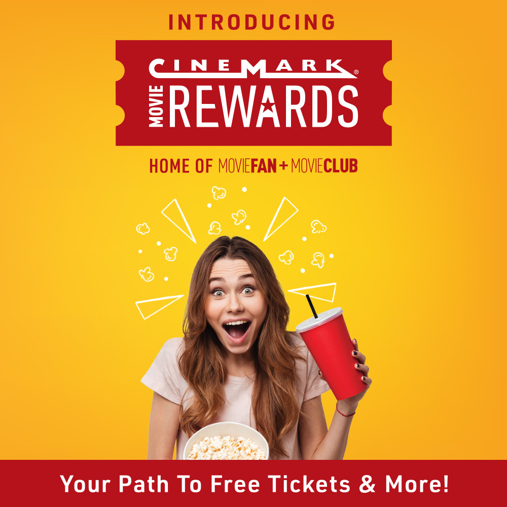 Woman excited about movies on a yellow background for Cinemark movie rewards.