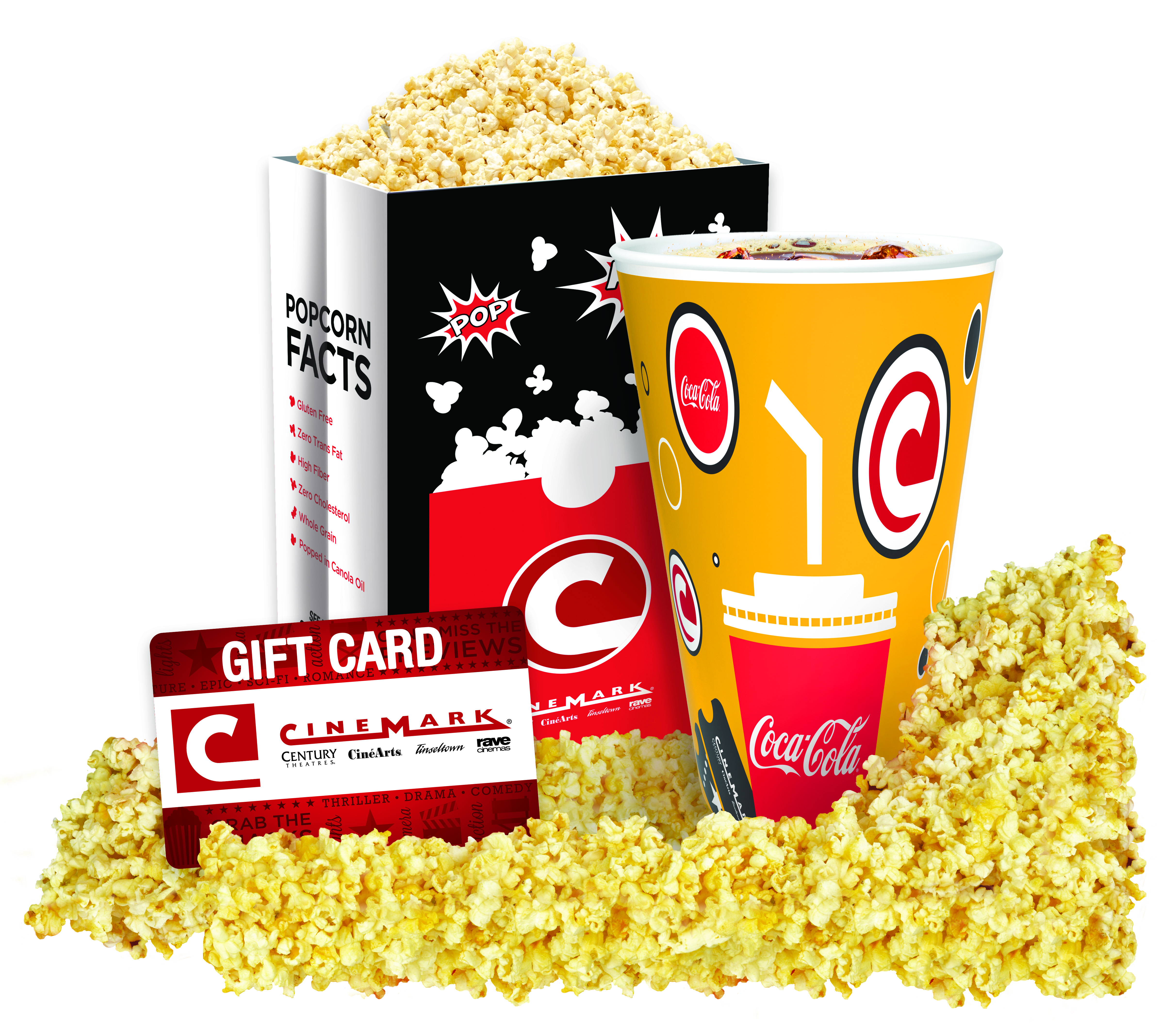 Popcorn, soda, and Cinemark gift card on a white background.