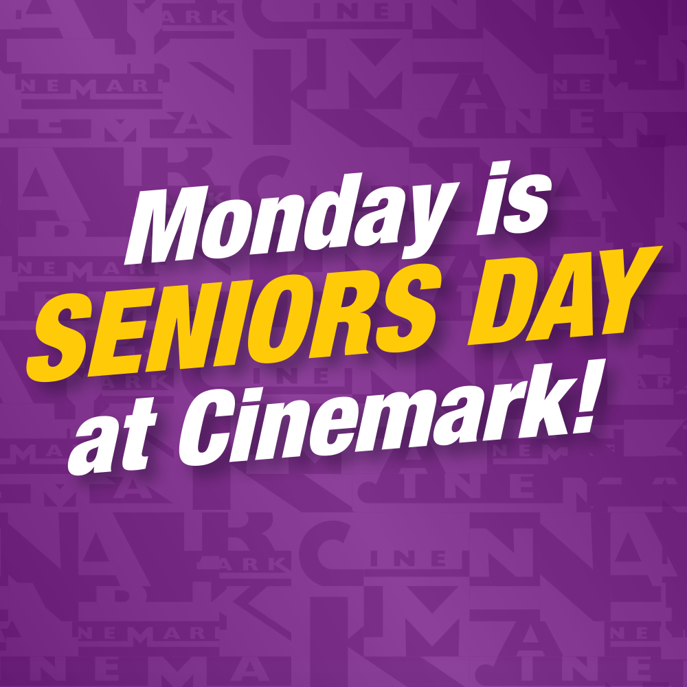 Text about Seniors Day at Cinemark on a purple background.