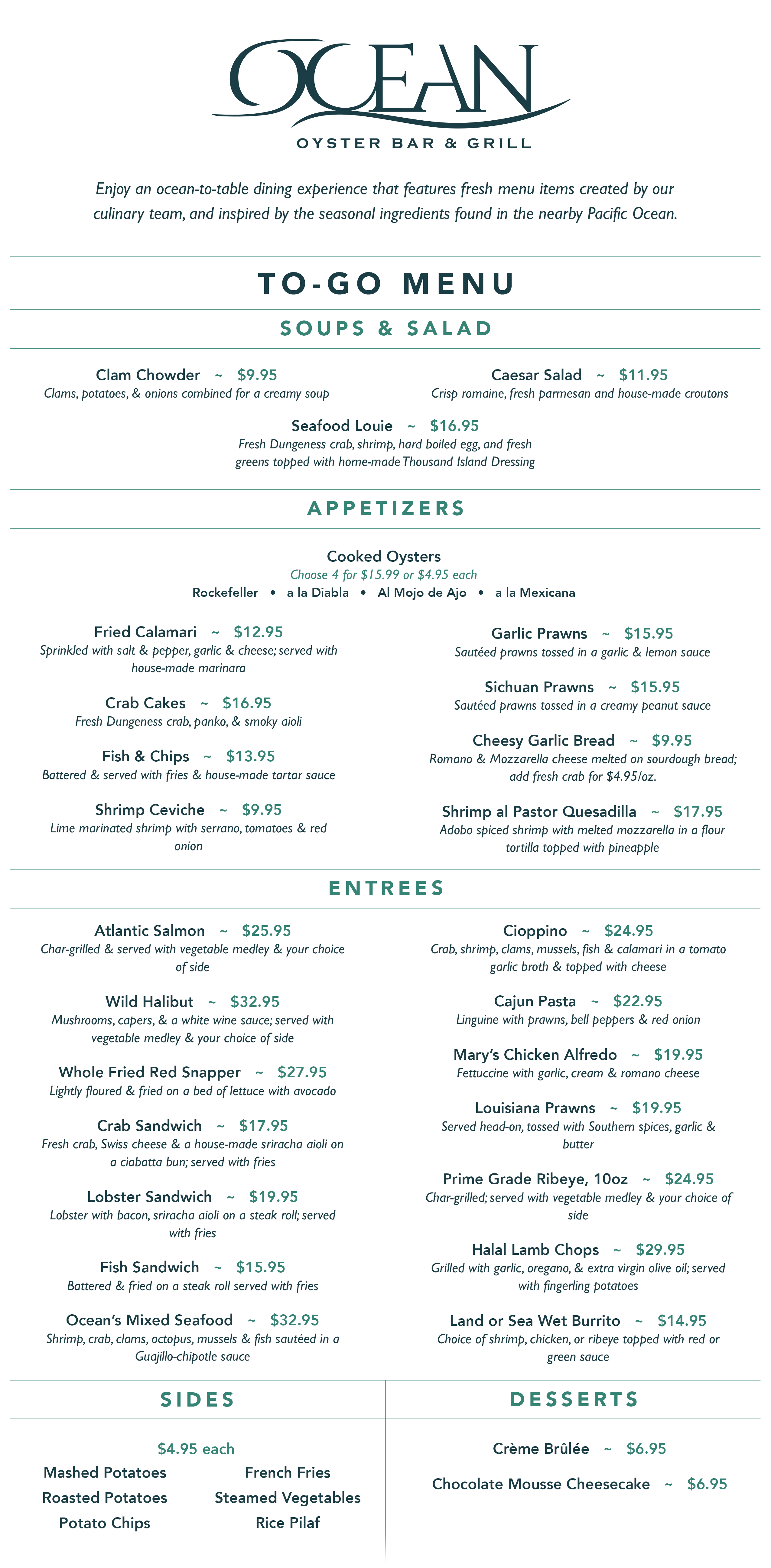 Football Season Happy Hour Menu for Ocean Bar and Grill Restaurant