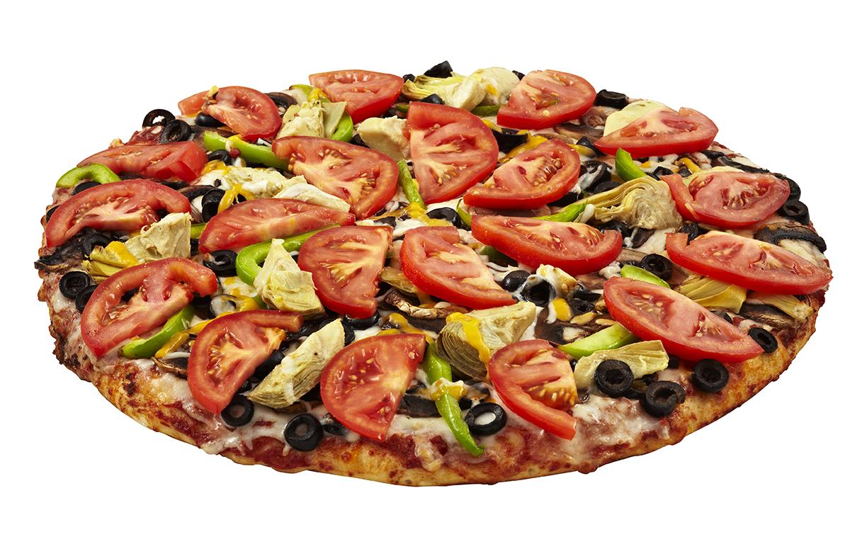 Veggiemore pizza on a white background.