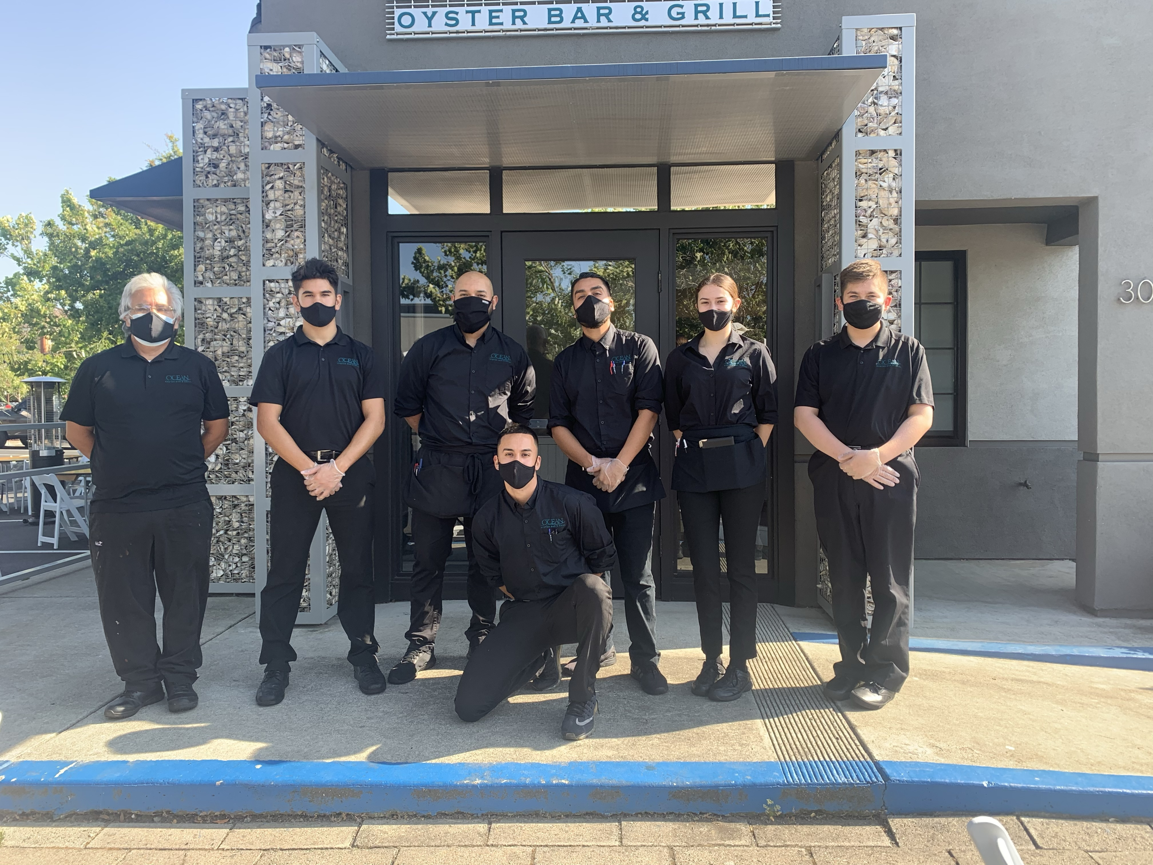 Ocean Oyster Bar and Grill servers in masks