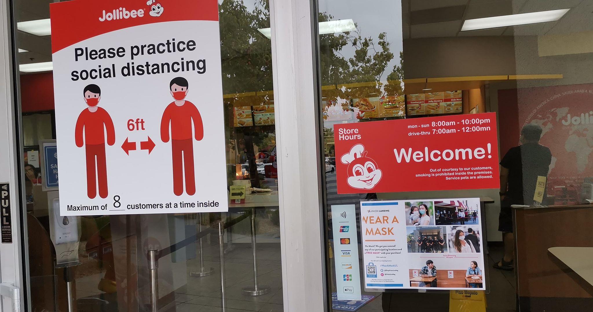 social distancing sign at Jollibee