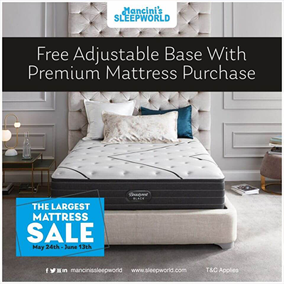 Mancini sleep world event sales ad.